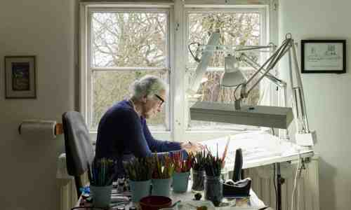 Judith Kerr at work in her London studio in 2017